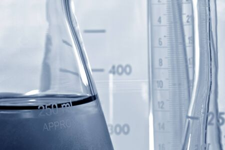 Glass Erlenmeyer flask in a science research lab