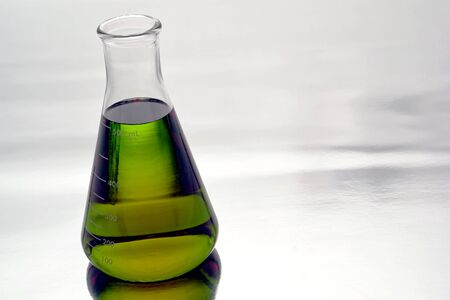 erlenmeyer: Glass Erlenmeyer flask filled with liquid for an experiment in a science research lab