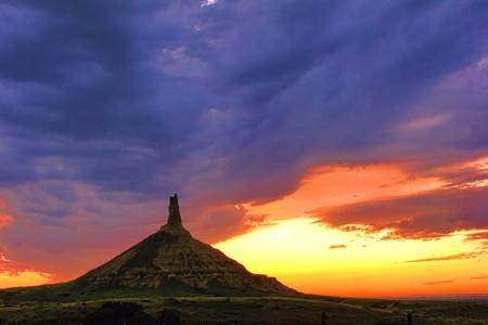 Chimney Rock National Monument at dusk in the plains of Nebraska Stock Photo