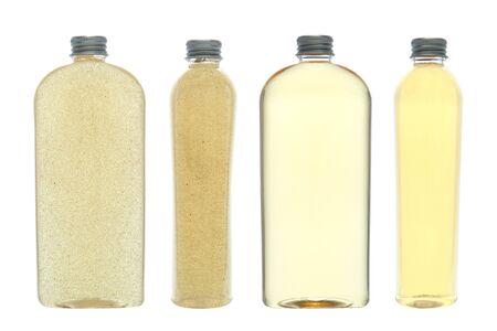 Bouteilles de cosmétiques générique de douche liquide corps parfumée huile de lavage et de la peau Nettoyant exfoliant devant et les vues de côté isolés sur blanc  Banque d'images - 10212730