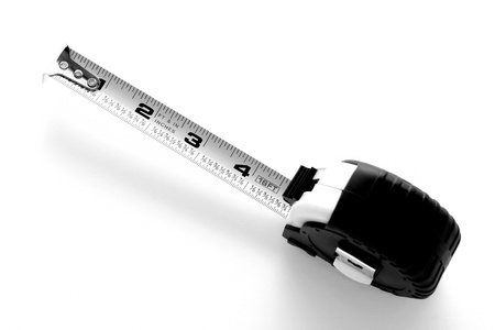 Construction Retracting Tape Measure in high contrast black and white