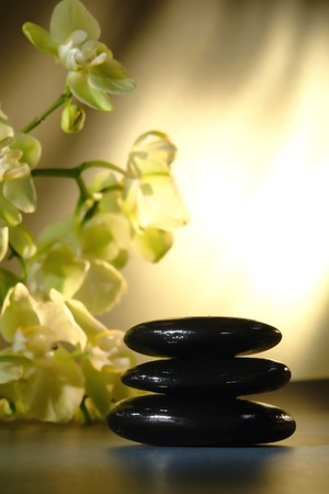 Shiny black hot massage polished stones cairn with white orchid flowers in a spa