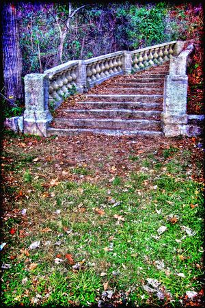 Abstract fantasy dream lost monumental marble stairway in the woods