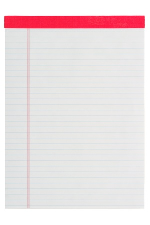ruled paper: Blank stationary horizontal ruled letter size paper notepad isolated on white