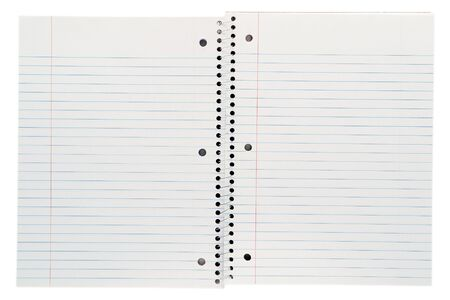 paper sheet: Stationary blank spiral bound ruled sheet paper pad composition notebook isolated on white