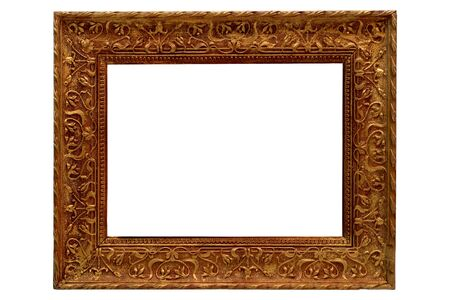 Antique ornate guilded gold over plaster and wood picture frame isolated on white