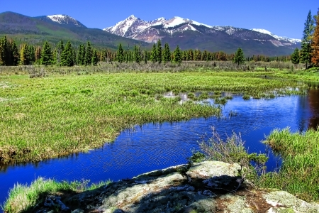 Rocky Mountains National Park landscape with river and meadow in Colorado