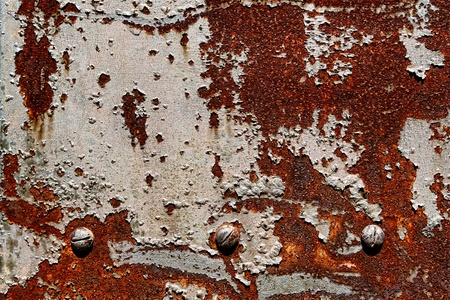 corroded: Grunge industrial background of old peeling paint on rough and rusty corroded metal surface Stock Photo