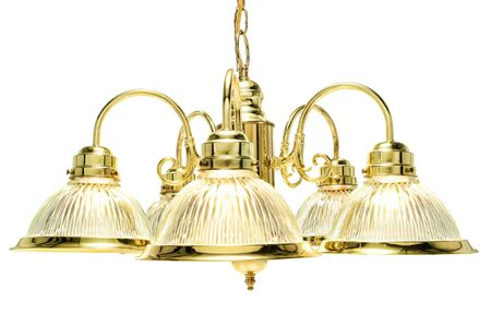 Classic style home dining room bright brass with glass shades chandelier light fixture isolated on white