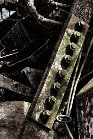 Grunge industrial machinery parts in an old factory machine Stock Photo
