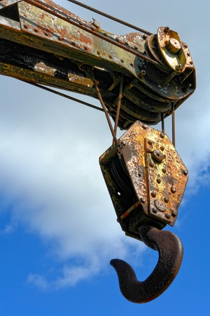 duty: Old industrial heavy duty manufacturing crane forged steel pulley hook Stock Photo
