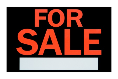 for sale sign: For sale advertising sign with empty blank message space isolated on white Stock Photo
