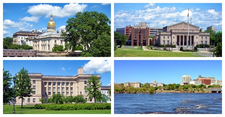 Trenton New Jersey collage with landmarks scenic views of the state house capitol and other NJ government administrative office buildings with the War Memorial and panoramic capital downtown cityscape from the Delaware River Stock Photo - 10328698