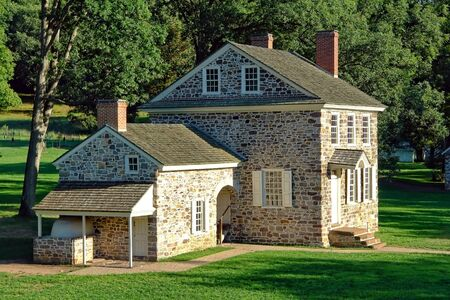 valley's: General Washington revolutionary war of independence headquarters historic house at Valley Forge National Park near Philadelphia in Pennsylvania