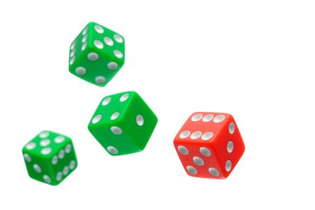wager: Gambling craps game dice used for shooting and rolling with bet  wager on rolls flying in the air isolated on white     Stock Photo