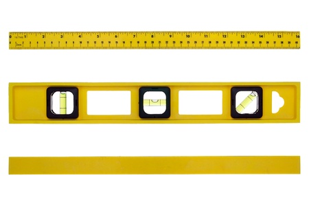 Yellow construction bubble spirit level tool featuring inch and metric ruler with different views from above and underneath isolated on white Imagens - 10714811