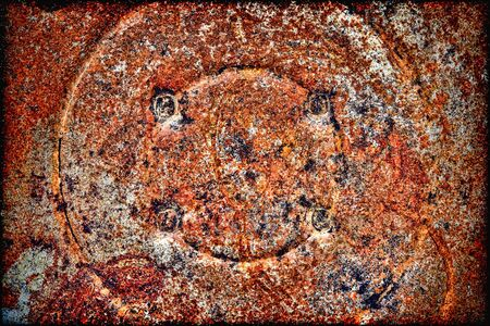 corrosion: Grunge rusty metal industrial background with rough textured corrosion rust on old corroded steel stamped material  Stock Photo