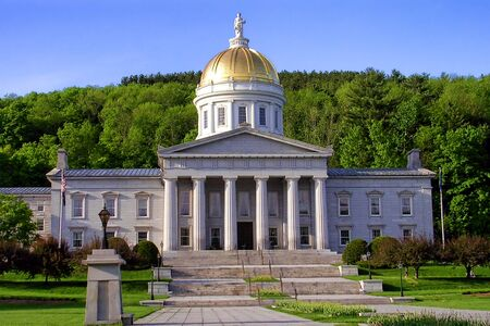 public houses: Vermont State House Capitol building built in Greek revival architectural style from local granite in the New England VT capital of Montpelier
