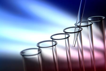 material de vidrio: Laboratorio de pipeta vac�a por dentro de tubos de vidrio de prueba para un experimento cient�fico en un laboratorio de investigaci�n en ciencias