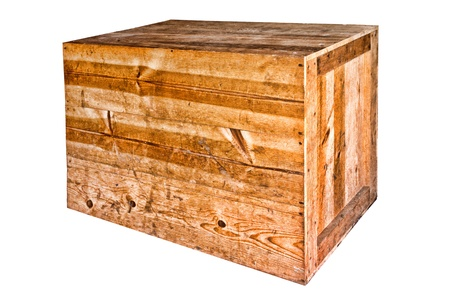 Old and weathered distressed wood boards antique wooden heavy duty shipping crate isolated on white  photo