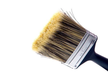 bristle: New generic paintbrush with black plastic handle and fine natural bristles ready for painting over white