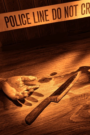 murdering: Gruesome forensic criminal murder crime scene with victim bloody dead woman hand and kitchen knife weapon evidence in a splatter of blood on floor with CSI police line tape in rough grunge sepia