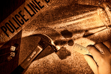 evidences: Police forensic investigator with glove on hand holding a technician measuring ruler at CSI gruesome murder crime scene with hammer weapon and victim blood evidence during a criminal law justice investigation in rough grunge sepia (fictitious representati