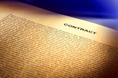 contractual: Legal contract document written in common law English (fictitious document with authentic legal language)
