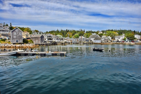 Scenic coastal fishing port of Stonington picturesque waterfront on the East Penobscot Bay in Maine