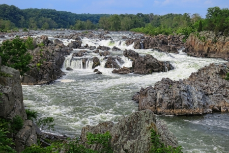gorge: Great Falls of the Potomac National Park river rapid at Mather Gorge between Virginia and Maryland near Washington DC