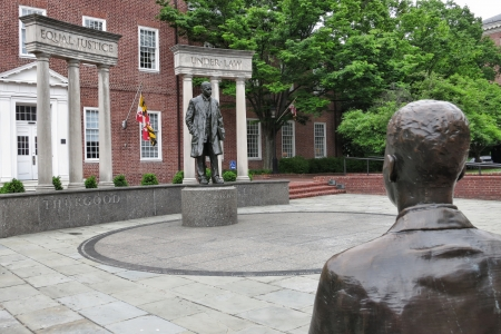 marshall: United States Supreme Court justice Thurgood Marshall bronze memorial statue with Equal Justice Under Law inscription at the Lawyer Mall near the State House in Annapolis Maryland