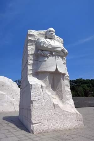 Civil rights leader Dr Martin Luther King Jr Memorial statue and granite mountain at West Potomac Park on the landmark National Mall in the United States capital of Washington DC photo