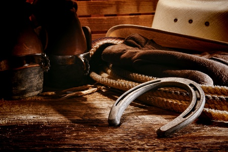 cowboy on horse: American West rodeo horse equipments
