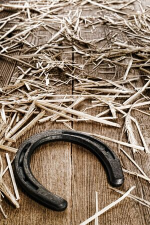 Rustic horse-shoeing lucky horseshoe on old and weathered barn wood floor boards covered with straw photo