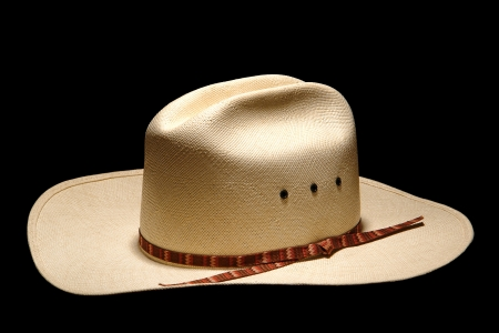 American West rodeo cowboy white straw hat