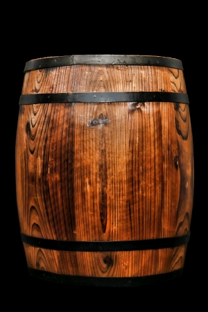 Old fashioned antique wood whisky barrel or vintage wine keg rustic container photo