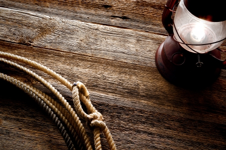 rawhide: American West authentic rodeo cowboy lariat lasso noose with rawhide speed burner Stock Photo