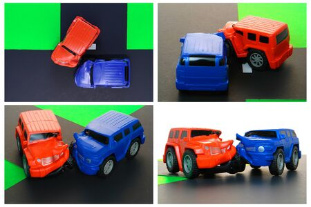 Auto driver safety education course anatomy demonstration of a car crash with toy cars photo
