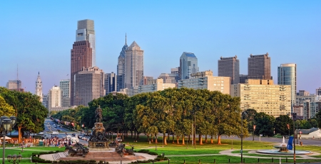 Downtown Philadelphia Center City scenic cityscape building skyline and Eakins Oval on Benjamin Franklin Parkway in Pennsylvania