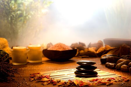 polished: Black hot massage polished stones cairn