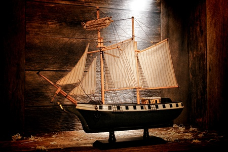 reproduction: Antique wooden miniature toy reproduction model war navy sail ship