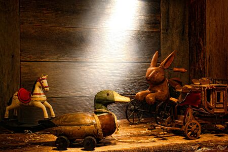 soft diffused light: Antique and vintage wood toys