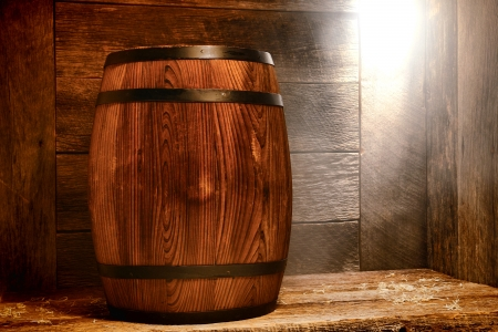 Antique wood traditional whisky barrel photo