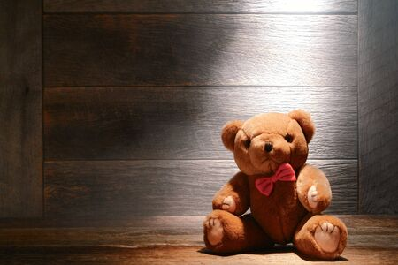 Vintage soft and fluffy teddy bear stuffed animal toy on aged wood floor in a dusty house attic lit by diffused hazy light photo
