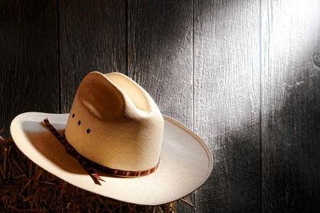 soft diffused light: American West rodeo cowboy traditional white straw hat on a bale of hay in an old wood ranch barn lit by soft diffused light