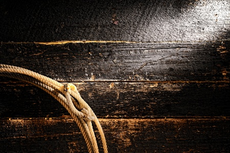American West rodeo authentic cowboy lariat lasso rope with speed burner on old damaged wood plank boards wall grunge background  Stock Photo - 15875097