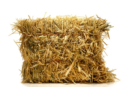 Bale of tied natural farming straw hay on white Stok Fotoğraf
