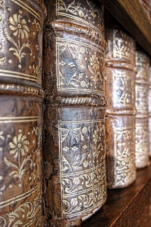 embossing: Old and worn leather cover bound books spine with aged gold leaf embossing on an antique wood library bookcase shelf Stock Photo