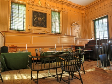 Historic Supreme Court room at Independence Hall in Philadelphia Pennsylvania as home of the July fourth 1776 signature of the United States Declaration of Independence by the American congress and birthplace of the USA