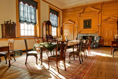 chambers: Historic Governor Council Chamber at Independence Hall in Philadelphia Pennsylvania as home of the July fourth 1776 signature of the United States Declaration of Independence by the American congress and birthplace of the USA Editorial